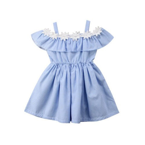 Kids Baby Girls Casual Solid Ruched Flower Patchwork Dress Small Plaid Summer Off-shoulder Party Pageant Tutu Dresses Clothes