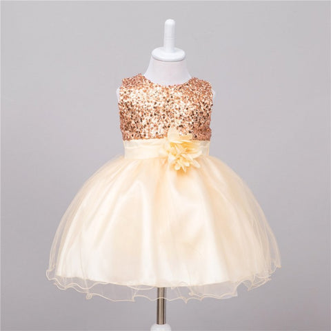 Kids Baby Girls Rose Flower Princess Party Wedding Bow Bowknot Tutu Sleeveless Dress O-Neck
