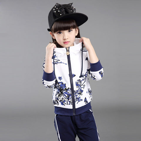 Kids Clothes Autumn and Autumn 2018 Girls Sets New Child Foral Print Sport Suits Girls Children Clothing Set 4 Colors Age 3-15Y