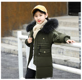 Kids Down Jacket 2018 New Boys Girls Winter Co Children Long Thick Outwe Co Fur Coll Solid Color Jacket For 5-14 Y
