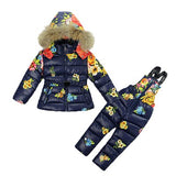 Kids Girl Winter Clothes Sets Hooded Co 2017 Fashion Flower Print Overalls Jumpsuits Snow We Children Clothing 2 -7 Years