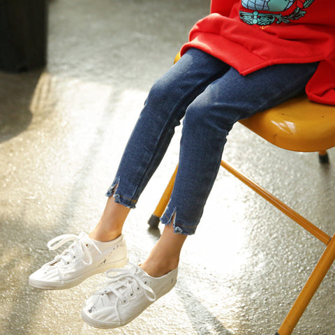 Kids Girls Autumn Jeans 2017 new Blue/Sky Blue Denim Pants Pencil Pants Cotton Ninth Trousers Children Costume