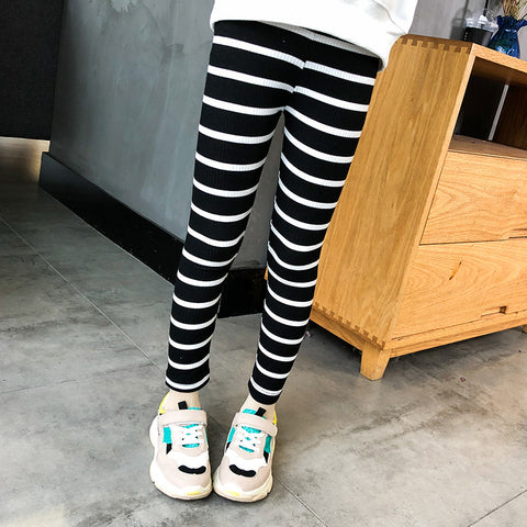 Kids Girls Leggings Cotton Pants Trousers 2018 Summer Autumn Girls Skinny Pants Children Girl Leggings Black White Stripes Pants
