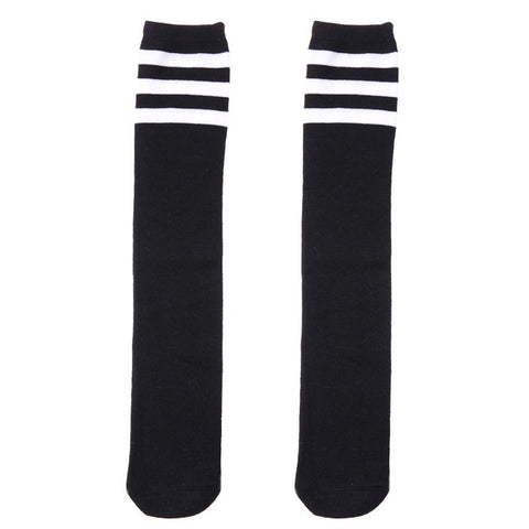 Kids Knee Stocking Autumn Spring Warm Cotton Football Stripes Children Leggings White Black Boys Girls Stocking