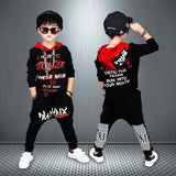 Kids Sets Boys Hip-Hop Suit, Spring and Autumn New Letter, Cap, Sweater + Trousers Two Piece Sportswear. White black suit