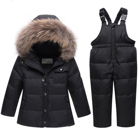 Kids Snow parkas real Fur hooded boy baby girl duck down jacket sets warm kids snow suit children co snowsuit winter clothes