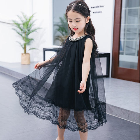 Kids Summer Clothing for Girls 3 5 7 9 10 12 Years Baby Teens Black A-line Beads Mesh Party Dresses Girls Holiday Clothes 5C49