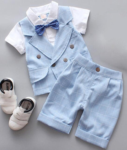Kids Tuxedo Formal Suit Baby Boy Clothes Set Formal Dress Plaid Blazer Short Sleeve Top + Shorts 2PCS Summer prom Set British