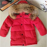 Kids Winter Jacket Baby Clothing Jacket For A Boy Winter Co Jacket For Girls Warm Fashion Feather Natunal Fur Hooded Jacket