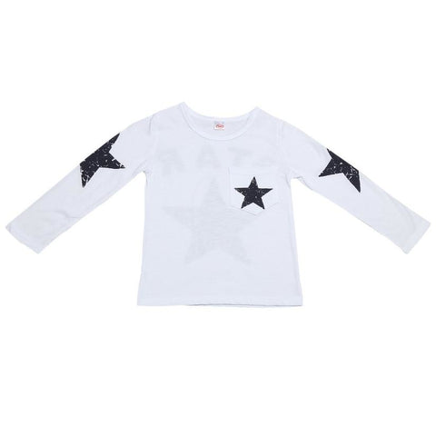 Kids baby  boys Spring   t shirts Toddler Kids Baby Boy Long Sleeve Star Print T-shirt Tops Clothes   M15