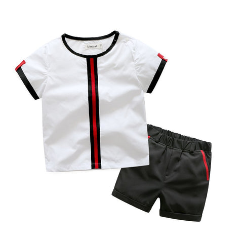 Summer Childrens Clothing Sets Short Sleeve Cotton Navy Blue Cute Handsome Baby Boy Clothes Infant Fashion Outerwear Set