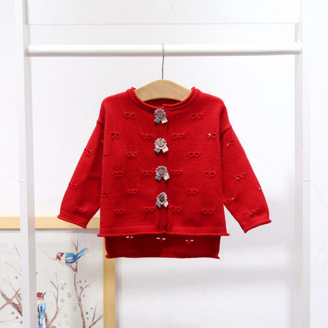 Knitted Cardigan Red Sweater For Baby Girls Children's Clothes Long Sleeve Wool Knit Coat Winter Outfits Girls Outerwear A014