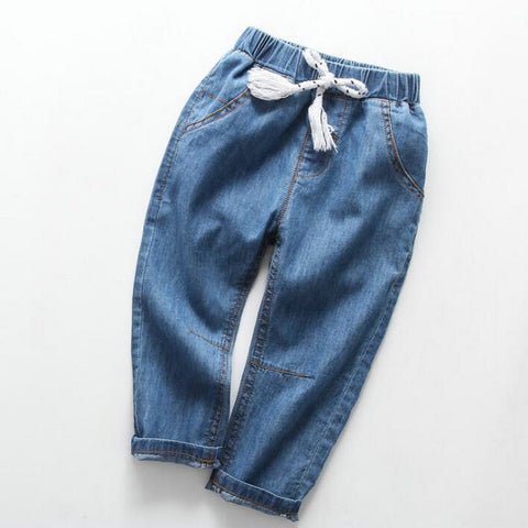 Korean Pure Color Blue Jeans Kids Girls Soft Pants Summer Thin Jeans Pants