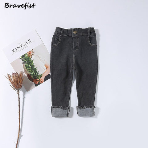 Korean Baby Boys Girls Jeans Pant Spring Autumn Cotton Fashion Design Infant Trousers Black Blue Color 1-4Years Kids Leggings