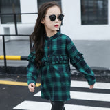 Korean Child Plaid Shirt Autumn Clothing Baby Clothes Girls Dress Hot Children Long Sleeve Kids Shirts Cotton Red Green