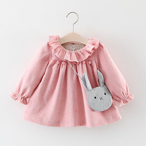 Baby Dresses For Girls Spring Autumn Long Sleeved Lotus Leaf Collar Pocket Doll Dress + Bag 2Pcs Clothing Set