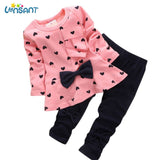 LONSANT New 2018 Baby Sets Heart-Shaped Print Bow Cute Kids Cotton Set Full Sleeve T Shirt + Pants 1Set