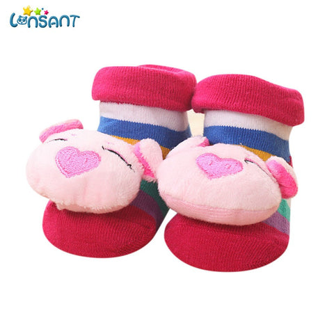 New Hot Baby Girls Boys Cartoon Newborn Baby Girls Boys Anti-Slip Socks Slipper Bell Shoes Boots