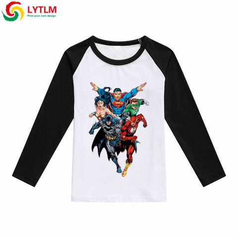 Marvel Tee Shirt DC Comics T-shirts Batman The Flash Green Lantern Superman Tshirt for Boys Baby Boy Girl Long Sleeve Tops