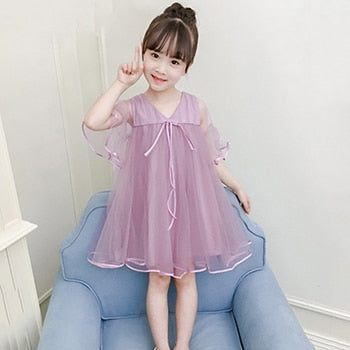 34198b0a8 Lace Designer Flare Sleeve Summer Children Dresses V-Neck Solid Baby Kids  Clothing Knee Length Cute Dress Party Frocks For Girls