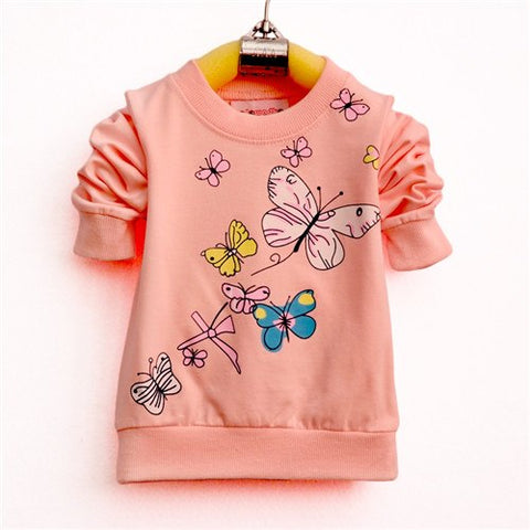 Baby Girls T-shirt Beautiful Butterfly Long Sleeve Band Sport T Shirts for Girls Cotton Children Clothing