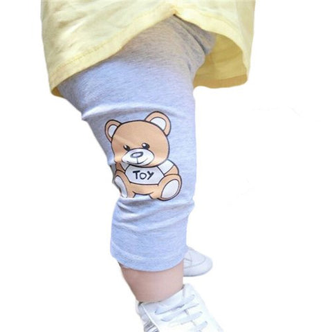 Cute Bear Baby Pants For Girls Cotton Trousers Cartoon Pattern Summer Style