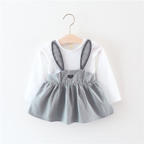 Cute Rabbit Ear Baby Dress Cotton Cartoon Baby Girls Party Dress Autumn Baby Princess Infant Dresses