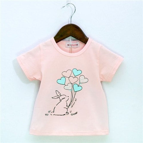 Rabbit Balloon Pattern Sport Baby Girls Boys t-shirt Short Sleeve t-shirts for Girls Cotton Children Clothes