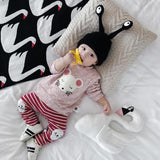Baby Spring Cartoon Hoodies Full Length Infants Fashion Regular Cotton Tops Newborn O-Neck Buttons Cute Sweatshitrs