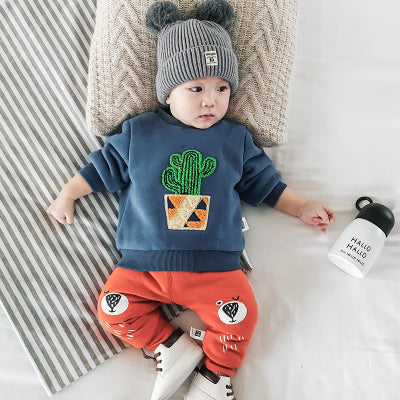 Baby Thicken Winter Pullover Cotton Cartoon O-Neck Plus Velvet Infants Casual Tops Long Sleeve Newborn Patch Hoodies