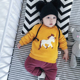 Baby Winter Cartoon Sweatshirts Cotton Thicken Warm O-Neck Horse Infants Buttons Hoodeis Plus Velvet Casual Kids Tops
