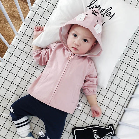 Toddler Solid Fashion Spring Coats Baby Cartoon Hooded Jackets Zipper Newborn Cotton Outwear Infants Full Sleeve Cloth