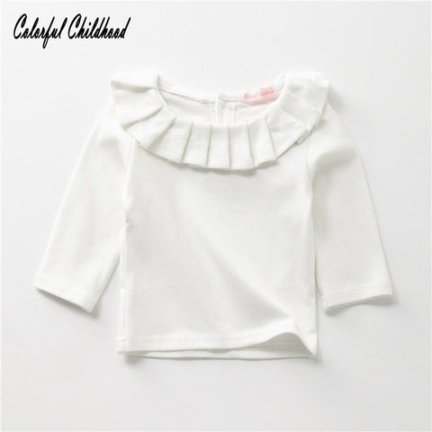 Little Girls Clothes autumn Pleated collar design Long Sleeve Shirts children daily tops outwear 0-24m baby clothing Christmas