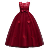 Long Girls Pageant Kids Prom Puffy Tulle 3d Flower Princess Teen Formal Evening Ball Gown Dress for Girls Red Blue Pink Burgundy