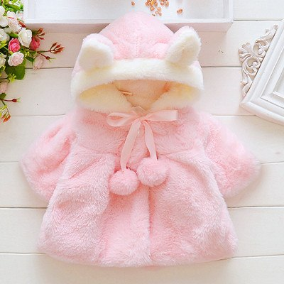 LovinBecia Baby Girl Cute Rabbit ears Hooded Coats Baby Infant Fur Winter keep Warm Coat Cloak Girls Jacket Thick Warm Clothes