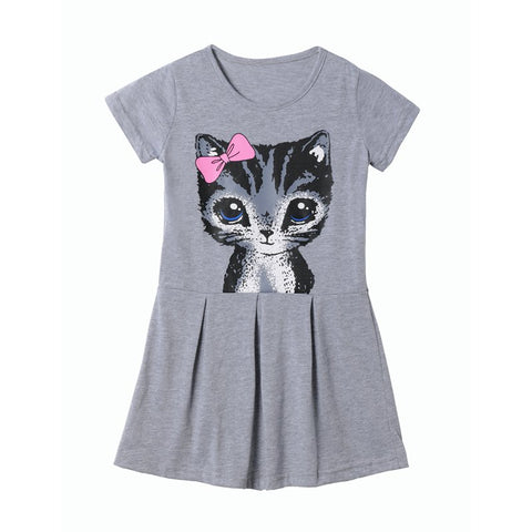 Little Girls Cat Print Summer Dress Kids Short Sleeve Gray Casual Outfit Vintage Flared T Shirt Dresses for 2-8 Years