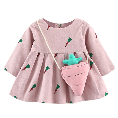 2018 New Brand Baby Dresses Long Sleeve Cute Toddler Baby Girl Carrot Print Princess Dress+Small Bag #5-6