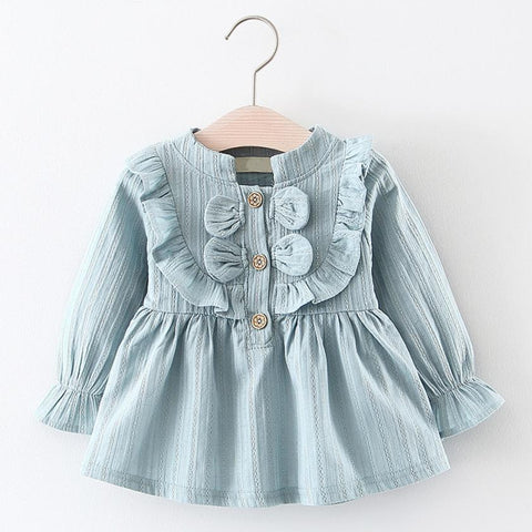 Baby Dress Toddler Kids Baby Girls Bowknot Clothes Spring Cotton High Quality dresses Long Sleeve Party Princess Dresses