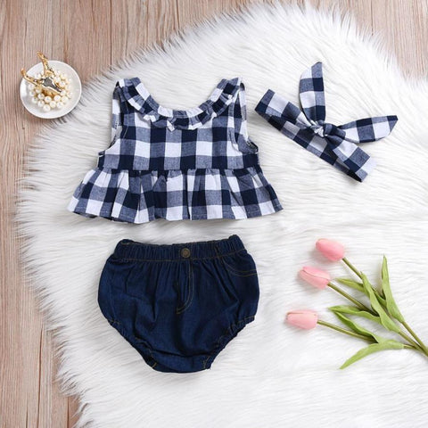 Summer Clothes Set Toddler Baby Girls Fashion Plaid Skirted T-shirt Tops Sleeveless O-Neck Shirt+Denim Shorts Suit 2018
