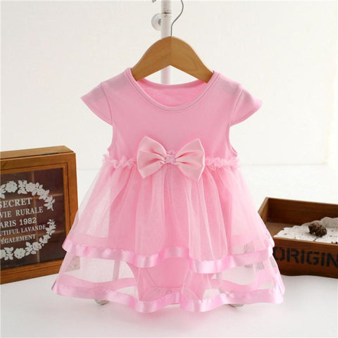 Sweet Bow-knot Baby Girls Dress Infant Birthday Tutu Clothes Party Princess Double layer Romper Dress Vestidos QZ6