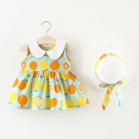Baby Clothes Flower And Lemon Baby Dress New Summer Cartoon Baby Girls Dress Plus Hat For 0-4 Y