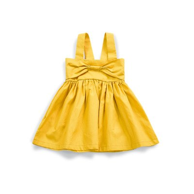 Summer Baby Girls Dress 2018 New Solid Yellow Infant Baby Girl Clothes Sleeveless A-line Baby Dress For Newborn Children
