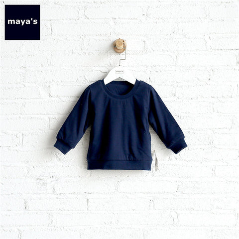 Mayas Solid Color Cotton Warm Girls Sweatshirts Children Basic Soft Winter Shirts Toddler Fashion Cute New Home we Tops 71051