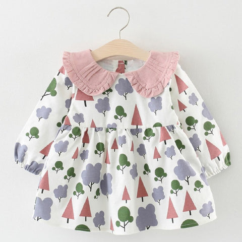 5dece077ed94d Baby Girls Dress 2018 New Autumn Casual Style Cartoon Small Trees Ruched  Coll A-Line Dress Lantern Sleeve Baby Dress
