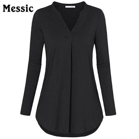 New Autumn V-Neck Long Sleeve Women Knitted Blouse Pleated Elegant Work Shirts Casual Curved Hem Female Solid Tunic Tops