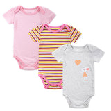 3 Pieces/lot Fantasia Baby Bodysuit Infant Jumpsuit Overall Short Sleeve Body Suit Baby Clothing Set Summer Cotton
