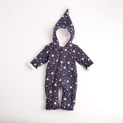 '- 2018 Warm Baby One-Piece Romper Boy Girl's Star Coat Newborn Cotton Padded Thick Bodysuit with Wizard Hat For Toddler
