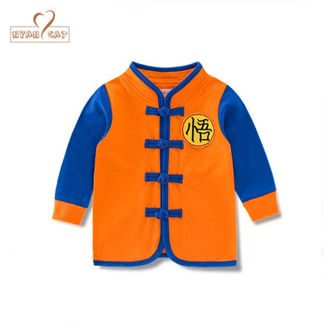Baby child spring and autumn jacket Chinese style long sleeves single green yellow co infant toddler kids clothing