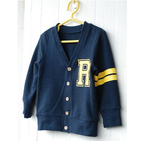 Navy Blue R Children Cardigans Boys Spring Co Kids Jacket Baby Boy Clothes Cotton Sweater Fashion Boy Outfits Black Shirts