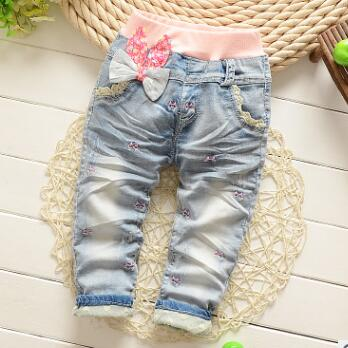 New 2018 Brand Fashion Baby Clothes Kids Girls Lace Flower Jeans Cotton Baby Pants Pants Girls Pantalon Fille Baby Girl Clothes